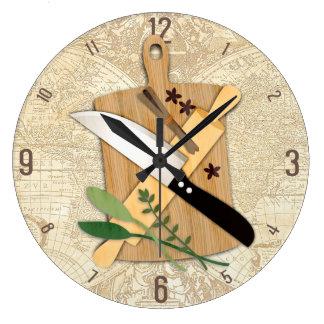 Reloj de la cocina del rodillo del cuchillo de la
