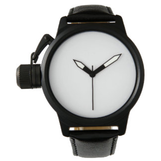 Reloj de la correa de cuero del negro del