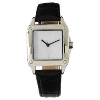 Reloj de la correa de cuero del negro del cuadrado