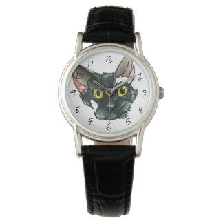 Reloj de la correa de cuero del negro del gato