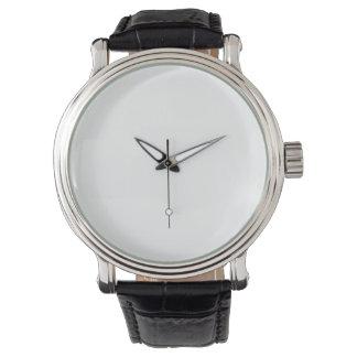 reloj de la correa de cuero del negro del vintage