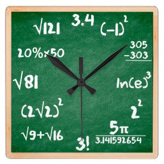 Reloj de la matemáticas con la frontera de madera