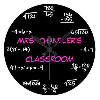 Reloj de la matemáticas de la pizarra de la sala