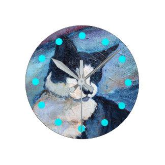 Reloj de la pintura del gato