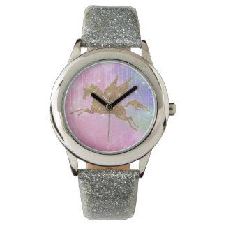 Reloj de la plata del rosa de la chispa del oro