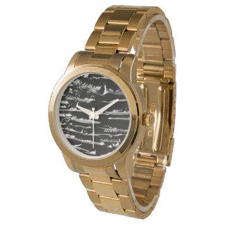 Reloj de la pulsera del oro del hielo negro