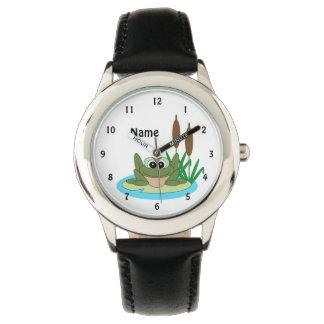 Reloj de la rana del dibujo animado de la