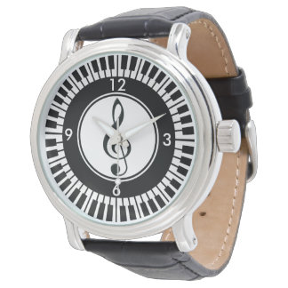 Reloj de las llaves del piano del diseñador y del