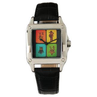 Reloj de las tejas del vintage del Mah Jongg