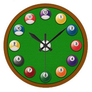 Reloj de los billares - sólidos y rayas