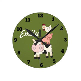 Reloj de los niños de los animales del campo