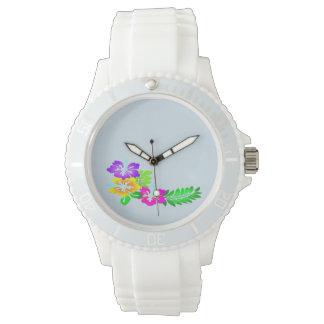 Reloj de moda del diseño floral del hibisco