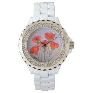Reloj de moda vivo de 5 flores de la acuarela de