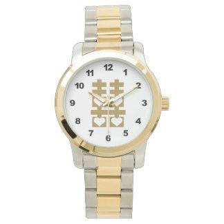 Reloj de oro doble del número del corazón del amor