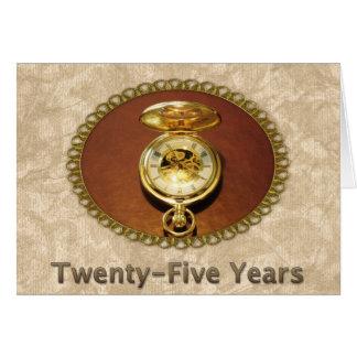 Reloj de oro elegante del 25to aniversario del tarjeta