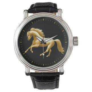 Reloj de oro galopante del caballo