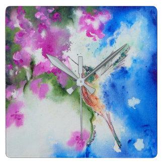 Reloj de pared abstracto del cuadrado del colibrí