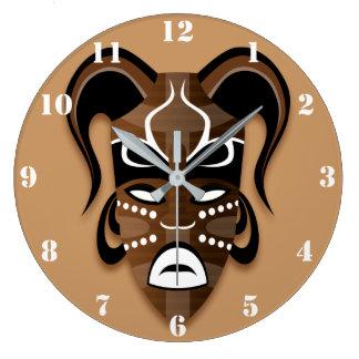 Reloj de pared AFRICANO de la MÁSCARA (CON los