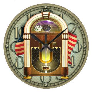 Reloj de pared americano de la máquina tocadiscos