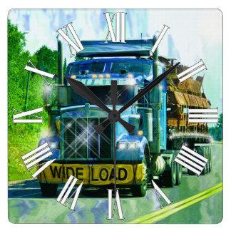 Reloj de pared ANCHO azul del camión de la carga