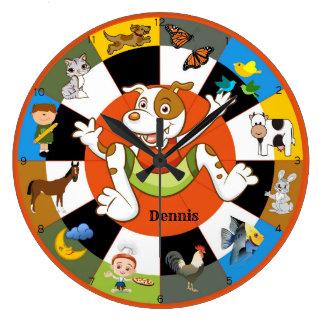 Reloj de pared animal de los niños coloridos