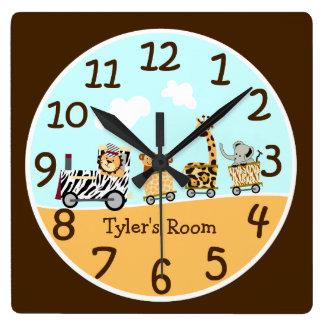 Reloj de pared animal del bebé del tren