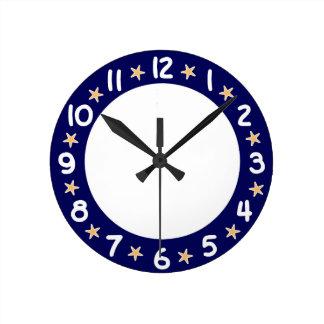 Reloj de pared azul de las estrellas de mar del