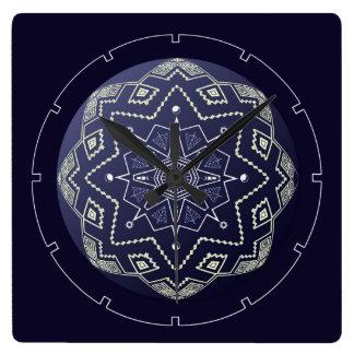 Reloj de pared azul y blanco de la mandala de la