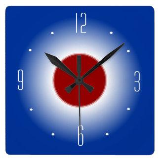Reloj Cuadrado Reloj de pared blanco y azul rojo de Design> del