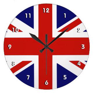 Reloj de pared británico de la bandera con números