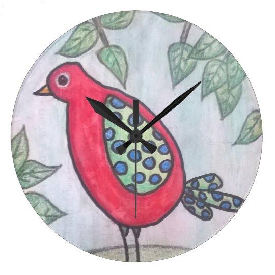 Reloj de pared caprichoso rojo del pájaro