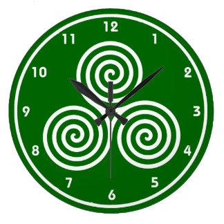 Reloj de pared céltico del diseño de los espirales