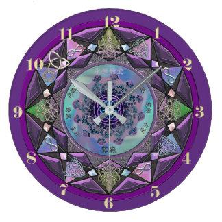 Reloj de pared céltico púrpura de la mandala