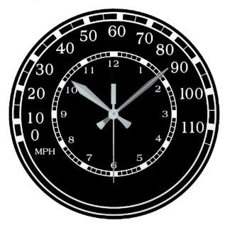 Reloj de pared clásico negro del garaje del