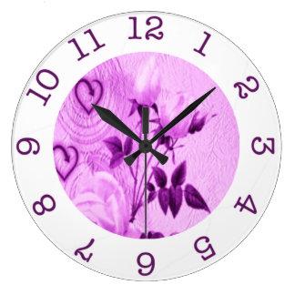 reloj de pared color de rosa púrpura