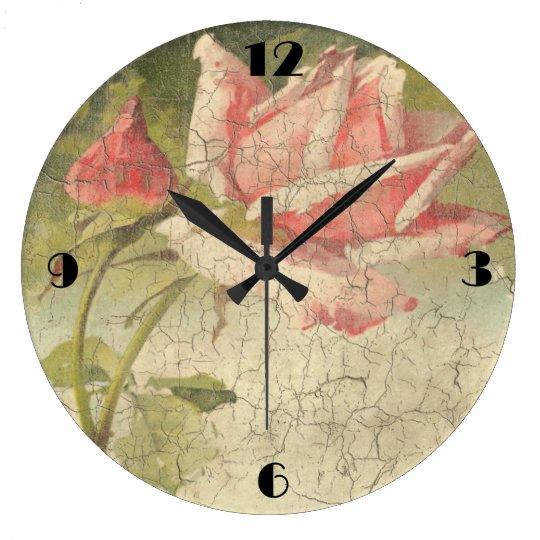 Reloj de pared color de rosa rosado del vintage zazzle - Relojes vintage de pared ...