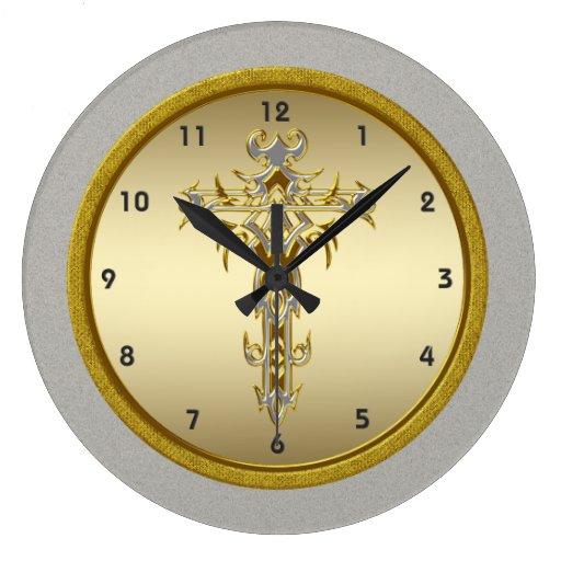 Reloj de pared cruzado religioso zazzle - Relojes de diseno de pared ...