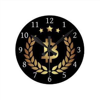 Reloj de pared Crypto del escudo de la moneda del