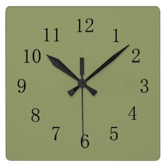 Reloj de pared cuadrado verde del aguacate