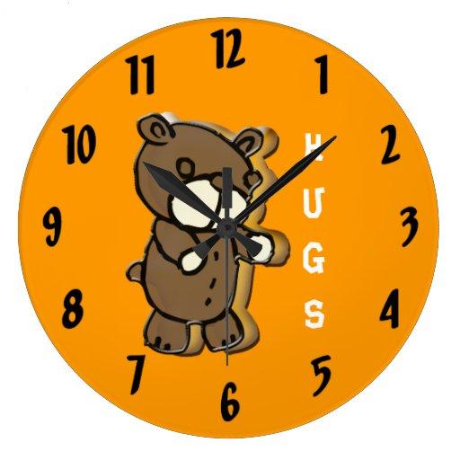 Reloj de pared de abrazo de la amistad de dos osos zazzle - Reloj de pared diseno ...