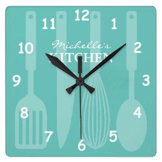 Reloj de pared de encargo de la cocina con los
