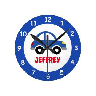 Reloj de pared de encargo del coche del juguete