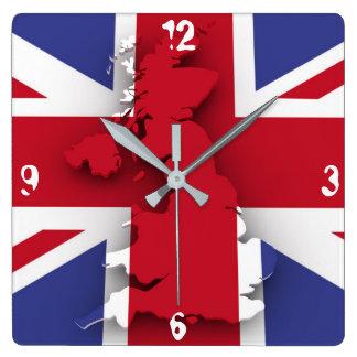 Reloj de pared de Gran Bretaña del Grunge