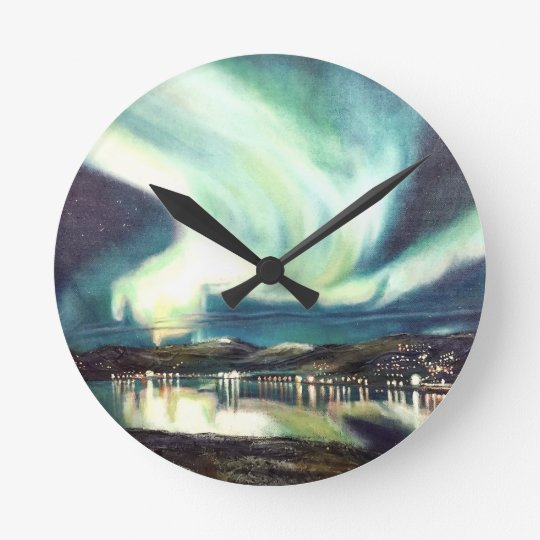 Reloj de pared de la aurora boreal de Islandia
