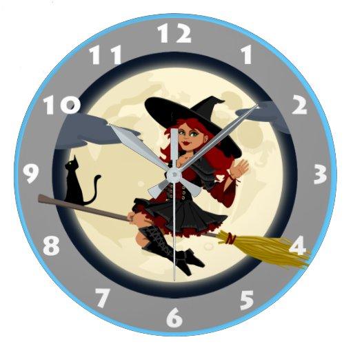 Reloj de pared de la bruja zazzle - Relojes de pared diseno ...