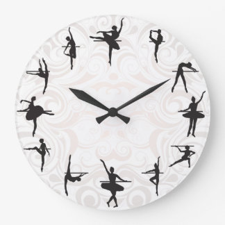 Reloj de pared de la danza de la bailarina de la