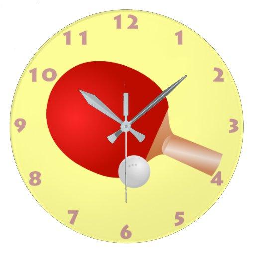 Reloj de pared de la paleta y de la bola del ping zazzle - Reloj de pared diseno ...