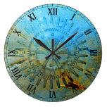 Reloj de pared de los engranajes de vapor Aqua