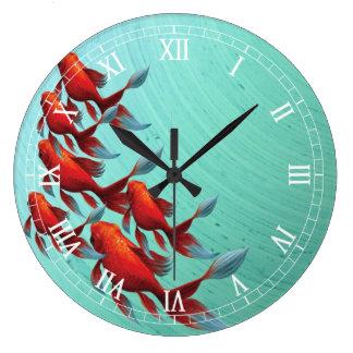 Reloj de pared de los pescados de Koi