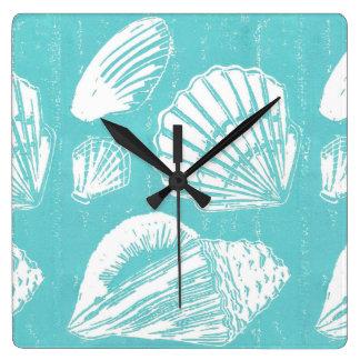 Reloj de pared de los Seashells, cuadrado o